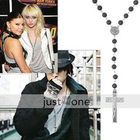 Wholesale Unisex Metal Cross Pendant Black Rosary Beads Necklace