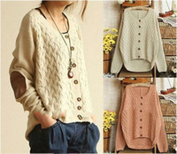 Wholesale New Women Knitted Sweater Korean Vintage Elbow Leather Patched Single Breasted Loose Cardigan Cute Sweaters Coat SW7007