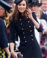Wholesale British Princess Kate same style dark blue woolen long Trench female Long Sleeve Slim Fit Trench Double Breasted Coat