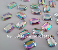 Wholesale Big Promotion Shining x14mm Hot Sale Acrylic Sew on Crystals AB Color Rectangular Rhinestone Yjdd A