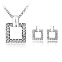 Wholesale Fashion Swarovski Elements Crystal Jewelry Sets Gold Plated Austrian Crystal Pendant Necklace Geometry Square Stud Earrings For Women