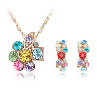 Wholesale Women Fashion Crystal Earrings Chain Necklace Pendants Gold Plated made with Swarovski Elements Jewelry Sets