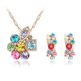 Women Fashion Crystal Earrings Chain Necklace Pendants Gold Plated made with Swarovski Elements Crystal Jewelry Sets 4583