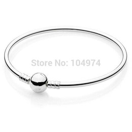 Wholesale Promotion New The Moments Charm Bangle Sterling Silver Bracelet Fit European Charms Beads CM Length