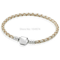 Cheap 2015 New Arrival White Charm Leather Bracelet 925 Sterling Silver Bangle Hand Chain Fit European Charms Beads 18-21CM Length