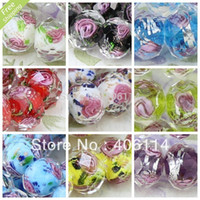 Wholesale Flower Inside Faceted Rondelle Cute Lampworked Glass Beads MM mixed colors