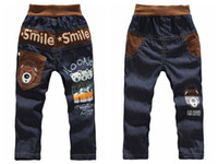 Wholesale Retail Crazy Lowest Price Kids casual pants Boys Cartoon bear trousers Children jeans Smile pants Summer Baby printed pant