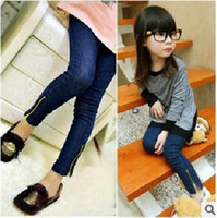 Wholesale Children girls Jeans cute pants Baby Girl Jeans Skinny Jeans kids tight jeans kids denim trousers suit with zipper dark blue
