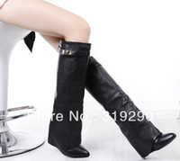 Wholesale Black Cowhide Leather Knee Boots Wedges Pumps High Heel Shoes