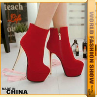 Wholesale Sexy Ladies Round Toe Ankle Boots Solid Thin High Heels cm Women s Party Hot Shoes Winter Fashion Night Club Zip Boot