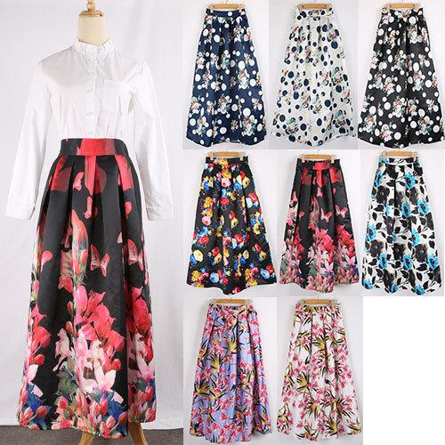 2017 100cm Floral Printed Long Maxi Skirt 2015 Autumn Winter Women ...