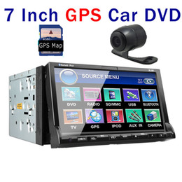 Wholesale Free GPS Map Double Din In Deck GPS Navigation Car DVD Player CD VCD AVI car Stereo Radio Bluetooth iPod TV Tuner Head Unit rear CAMERA