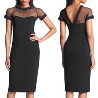 Women black pencil dresses - New Arrival Summer Black Mesh Dress Cheap Price Pencil Bodycon Party Pencil Dress Sexy Midi Women Clubwear Dress G0502