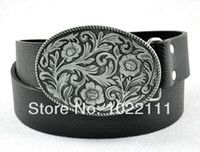 Wholesale Vintage Western Cool Cowboy Cowgirl Style Floral Flower Lady Men s Belt Buckle with PU Leather Black Belt fits Waist quot