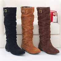 Wholesale Women boots winter ladies fashion Mid bottom boots shoes the knee high leg suede long boots brand designer DX623