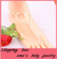 toe ring anklet - Personality peach heart lovely pearl beach anklet foot jewelry barefoot scandal Toe ring chain for girls