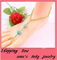 Wholesale European and American barefoot sandals anklets for women foot summer jewelry stretch anklet Toe jewelry