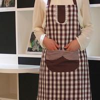 cotton apron - Check Design Cotton Apron Women Protection Pinafore LCCMD194