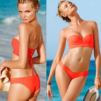 Cheap Wholesale-Women's sexy bandage swimwear bikini 2015 Push Up secret swim suits bikinis set for women plus size two piece swimsuit S-XL