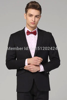 Wholesale Hmy808 Custom Groom Tuxedo Black Lapel New Wedding Man Dress Tuxedos PieceSet Jacket Pants Tiebow