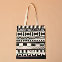 Wholesale New Arrival Fashion Cotton Fabric Shopping Bags with Geometric Pattern Women Handbags Shoulder Bags