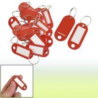 Wholesale 20 Key ID Label Tags Split Ring Keyring Keychain Red