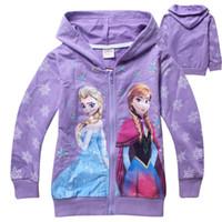 Wholesale Girl s Frozen Hoodie New Automn Elsa amp Anna Full Sleeve Zip Cardigan Outerwear Cute Carton Snow Children Hoody Shirts