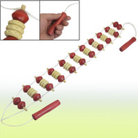 Wholesale Red Beige Wood Back Body Massager Roller Stress Relief Tool