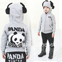 Wholesale New Unisex Baby Kids Cotton Blended China Panda Design long sleeve Hoodies Sweatshirt Coat Clothing For Spring Autumn Winter