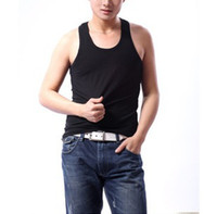 Wholesale men s tank top undershirt slim rib knitting cotton trend of the men s O Neck collar basic vest