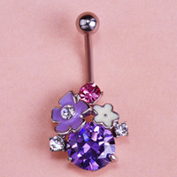 Wholesale New Violetta L Flower Zirconia Floral Sex Body Piercing Navel Belly Button Rings Jewelora Percing Coupon