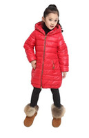 Wholesale winter thick down jacket girls children long section of duck down jacket duck feathers inside Long down coats for girls colours