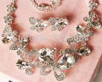 Wholesale Butterfly crystal jewelry bride suit necklaces earrings crown pearl wedding jewelry hair clip excluding jewelry box