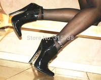 black leather high heel boots - New black patent leather ballet style Ankle strap sexy CM high heels shoes boot size