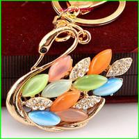 Wholesale KC00015 Quality K Gold Plated Alloy Animal Style Fashion Key Chain Christmas Gift Gemstone Key Ring