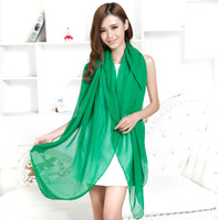 Wholesale New arrival solid color silk chiffon scarf large long fashion cheap red green women chiffon scarf shawl150 cm