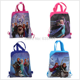 Promotion enfants cordon sacs d'école Gros-4pcs congelés sacs d'école pour enfants Cartoon cordon Sac à dos, sac shopping, sac à dos impression faveur du parti, mochila