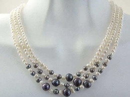 Wholesale Beautiful row mm white black pearl necklace17