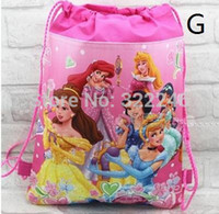 Wholesale 15pc new style Christmas Non woven Princess Backpacks Printed School bag shopping bag Party Favors design KB110218