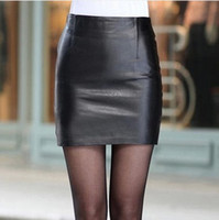 Wholesale spring autumn women PU leather mini skirt office lady hip hug solid color pencil skirts black plus size sale
