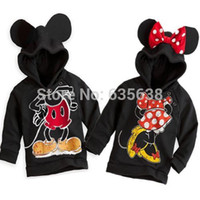 Cheap Wholesale-New Fashion Cute Kids Girls Boys Minnie Mouse Hooded Jacket Sweater Hoodie Coat 1-6Y