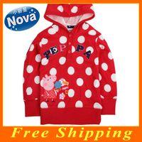 Wholesale New Fashion Brand Nova Kids Wear Winter Baby Girls Hoodies Peppa Pig Dot Cotton Children Sweate Coat F4490