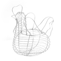 wire basket - Chicken Shaped Silver Tone Wire Egg Collecting Basket Holder