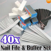 sand paper - New Nail Art Sanding Files Buffer Block Manicure Pedicure Tools Sand Paper Foam UV Gel Set Nail File