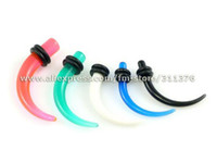 Wholesale g g g g Multi Colored UV Acrylic Ear Plugs Stretcher Tapers Piercing with Black Rubber Rings Body Jewelry