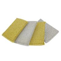 Wholesale 4 Metallic Thread Scrub Sponge Pad Cup Bowl Cleaner