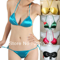 panties and bras - Bikini skimpily bra set glossy halter neck triangle cup silks and satins wire satin underwear fabric panties