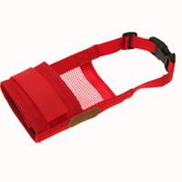 Wholesale Pet Dog Anti Bark Chew Muzzle Mask Red Soft Mesh L