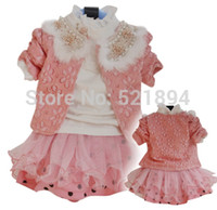 Wholesale clearance new girls lace fur clooar three new flowers coat pure cotton two layer sari girl dress kids clothes sets