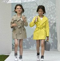 Wholesale High end new fashion brand autumn girls Trench with belt children clothing for years girls wear European girls jacket